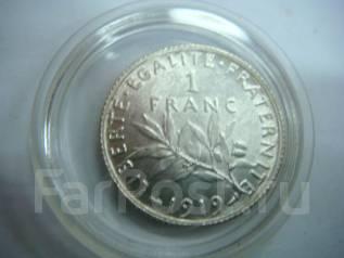 Франция 1 франк серебро 1919 года