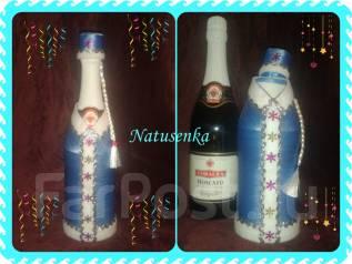 Снегурочка Новогодняя упаковка для шампанского ручной работы.