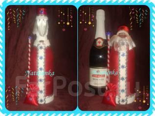 Новогодняя упаковка для шампанского. Дед Мороз.