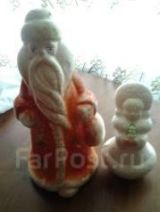 Винтажный дед Мороз и Снегурочка из пенопласта 70-х гг. Оригинал