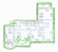 4-комнатная, улица Авроровская 30. Центр, частное лицо, 145кв.м. План квартиры