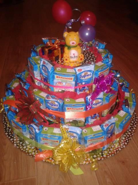 торт в детский сад на день рождения из сладостей как сделать