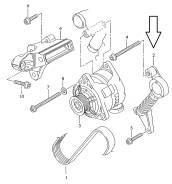 Натяжитель ремня генератора. Audi: A4 Avant, A6 Avant, S6, A4, A6, S4 Двигатели: AKE, ALT, AML, AMM, ANK, APB, ARE, ASG, ASM, ASN, AVF, AVK, AWN, AWT...