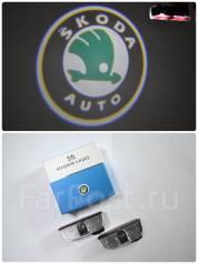 Проекция логотипа автомобиля в дверь Skoda