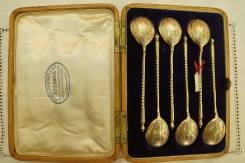 Старинный Подарочный Набор из шести чайных серебряных ложек. 1887 год. Оригинал