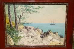 Ф. Ф. Клименко, акварель «Крым. Морской пейзаж» в оригинальной раме.