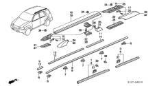 Накладка направляющей рейлинга крыши Honda CR-V RD1,2. Honda CR-V, RD1, E-RD1, GF-RD1, GF-RD2