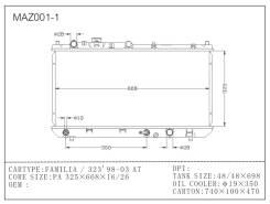 Радиатор охлаждения двигателя MAZDA FAMILIA/323/ASTINA BJ#P, B3, B3-ME, ZL, ZL-ME, FS-DE 98-02