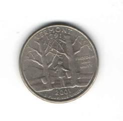 Монета Квотер США 2001 г. (Vermont 1791 г. ) «P»
