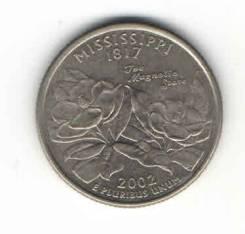 Монета Квотер США 2002 г. (Mississippi 1817 г. ) «D»