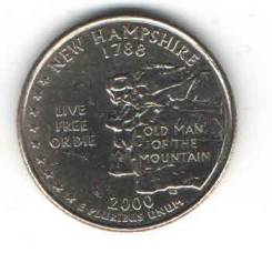 Монета Квотер США 2000 г. (New-Hampshire 1788 г. ) «D»