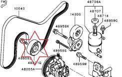 Обводной ролик. Mitsubishi: Airtrek, Lancer Evolution, Lancer Cedia, Lancer, Grandis Двигатели: 4G63T, 4G63
