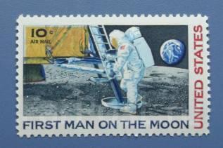 1969 США. Космос. Первый человек на Луне. 1 марка Чистая