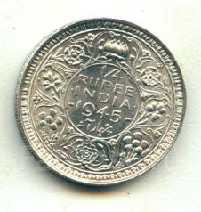 Индия 1/4 рупии 1945 George VI Серебро