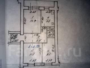 3-комнатная, Авроры ул 14а. Краснофлотский, агентство, 63 кв.м. План квартиры