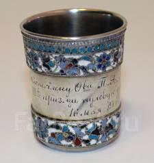 Старинная наградная серебряная стопка с полихромными эмалями. 1904 г. Оригинал