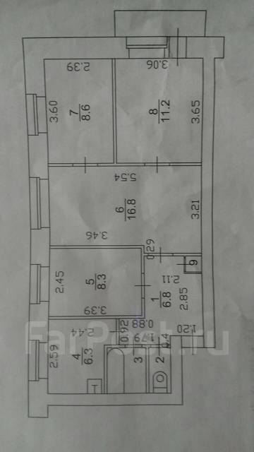 4-комнатная, Октябрьская ул 28 А. Старый торговый центр, частное лицо, 62 кв.м. План квартиры