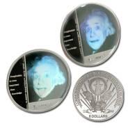 Сев. Марианские о-ва 5 долларов 2004 Серебро 925 Голограмма А. Эйнштейн