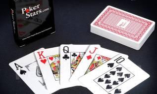 Карты покерные пластиковые игральные Poker Stars 100% рубашка красная