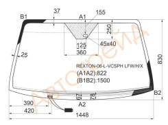 Стекло лобовое с обогревом щеток в клей SSANGYONG REXTON II SUV 5D 2006- XYG REXTON-06-L-VCSPH LFW/H/X