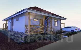 Проект 1 этажного дома с террасой 116м2. до 100 кв. м., 1 этаж, 2 комнаты, комбинированный