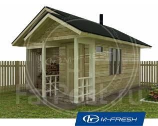 M-fresh Hothouse (Готовый проект бани из бруса). до 100 кв. м., 1 этаж, 1 комната, дерево