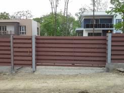 Откатные ворота, сдвижные ворота, автоматика, заборы, фундамент.