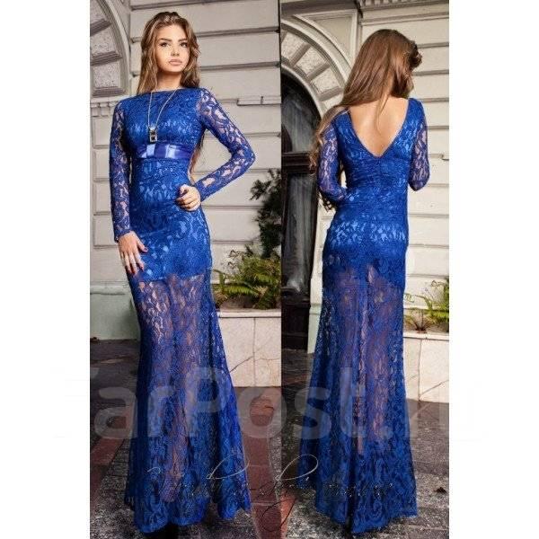 Гипюровое длинное платье синее