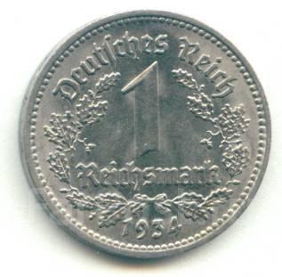 Германия 1 марка 1934 D