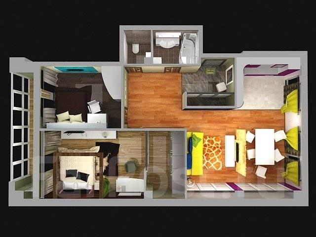 3-комнатная, улица Успенского 56а. Океанская, агентство, 90кв.м. Дизайн-проект