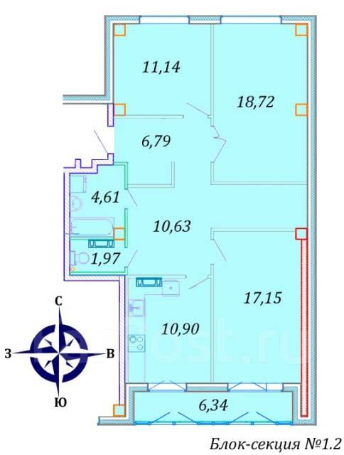 3-комнатная, улица Успенского 56а. Океанская, агентство, 90кв.м. План квартиры