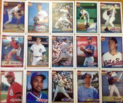 Бейсбольные карточки Topps 40 1991 год. Бейсбол. Винтаж.