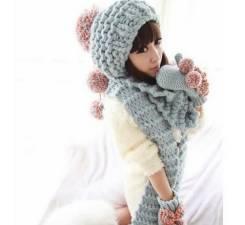 Шапка, шарф и варежки. Рост: 146-152 см