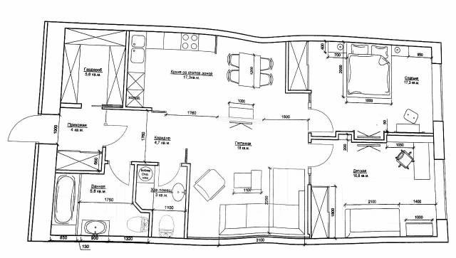 3-комнатная, улица Четвертая 6д. Океанская, застройщик, 97 кв.м. План квартиры