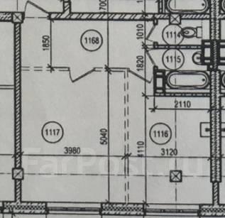 1-комнатная, улица Кипарисовая 2. Чуркин, застройщик, 47 кв.м. План квартиры
