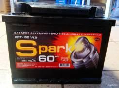 Spark. 60 А.ч., правое крепление, производство Россия
