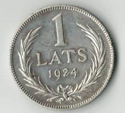 1 лат. 1924 г. Довоенная Латвия. Серебро.