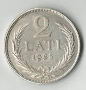 2 лата 1925 г. Довоенная Латвия. Серебро.