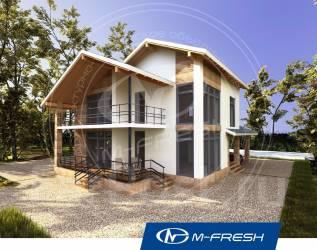 M-fresh Absolute (Готовый проект дома с террасами и навесом для авто! ). 100-200 кв. м., 2 этажа, 4 комнаты, бетон