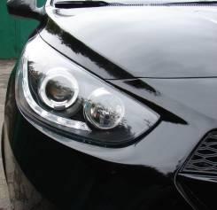 Альтернативная оптика (фары) «Angel Eyes» для Hyundai Solaris (черные)