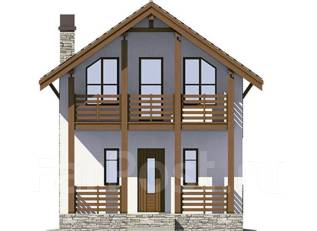 Проект каркасного дома 1-53. 100-200 кв. м., 2 этажа, 4 комнаты, каркас