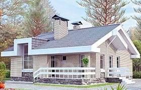 Проект дома из пеноблоков 2-136. 100-200 кв. м., 2 этажа, 5 комнат, бетон