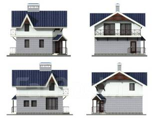 Проект дома из кирпича 2-87К. до 100 кв. м., 2 этажа, 4 комнаты, бетон