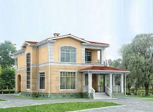 Проект дома из пеноблоков ПБ 3-197. 200-300 кв. м., 2 этажа, 8 комнат, бетон