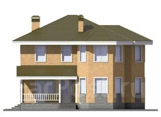 Проект дома из пеноблоков ПБ 3-165. 200-300 кв. м., 2 этажа, 8 комнат, бетон