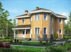 Проект дома из пеноблоков ПБ 3-165. 200-300 кв. м., 2 этажа, 9 комнат, бетон