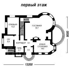 Проект дома из газосиликатных блоков 18-261П. 200-300 кв. м., 2 этажа, 8 комнат, бетон