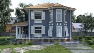Проект дома из пеноблоков ПБ 1-138. 200-300 кв. м., 2 этажа, 9 комнат, бетон