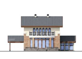 Проект дома из пенобетона ПБ 3-177. 400-500 кв. м., 2 этажа, 9 комнат, бетон