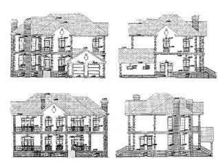 Проект кирпичного дома 17-491К. более 500 кв. м., 2 этажа, 10 комнат, кирпич